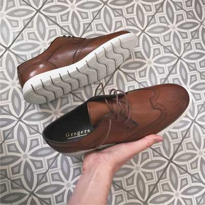 Gregers sko shoe sport brogue cognac skinn